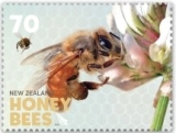 The 70c stamp depicts the first step in making honey - the gathering of nectar.