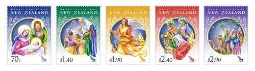 Five Christmas stamps for 70c - $2.90 denominations.