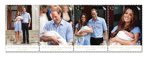 Strip of 4 stamps for the Royal Baby issue.