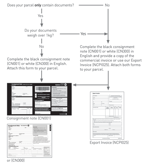 International Express Courier documents and parcels diagram.