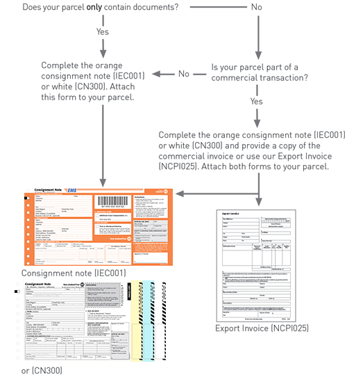 International Economy Courier documents and parcels diagram.