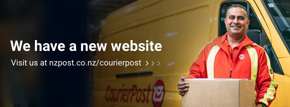 Man holding parcel by CourierPost van