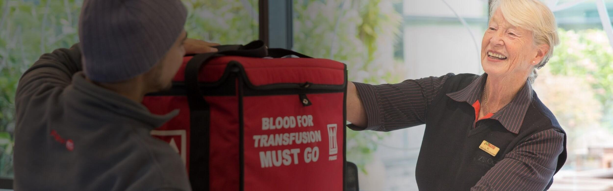 Pace courier delivering blood for the NZ Blood Service