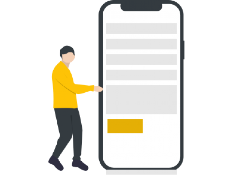 Illustration of a person filling out a form on a phone