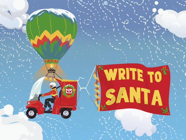 cartoon of Alex the postie in a flying paxster vehicle pulling a 'write to santa' banner in the sky