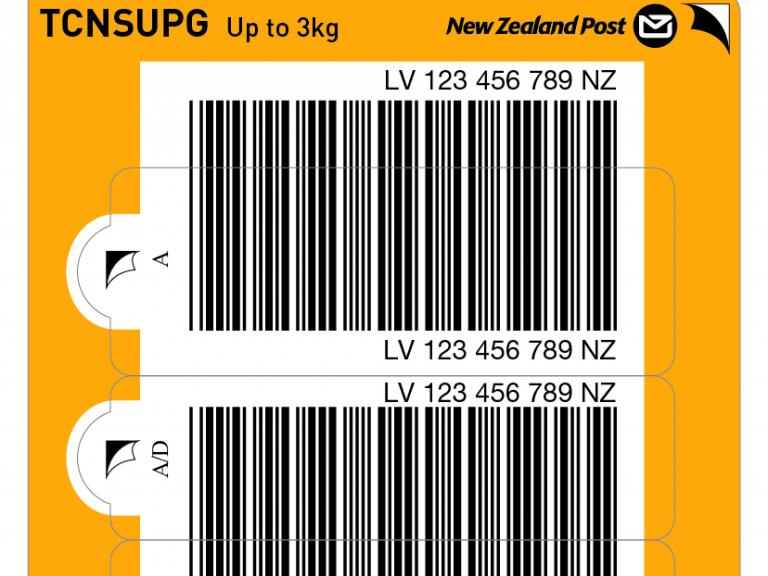 Yellow courier non-signature ticket with barcodes