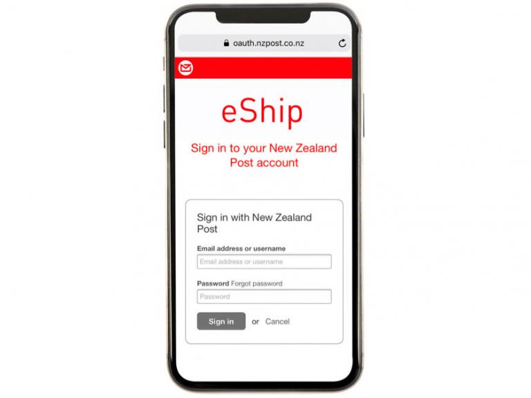 e-Ship website sign-in page on a mobile phone