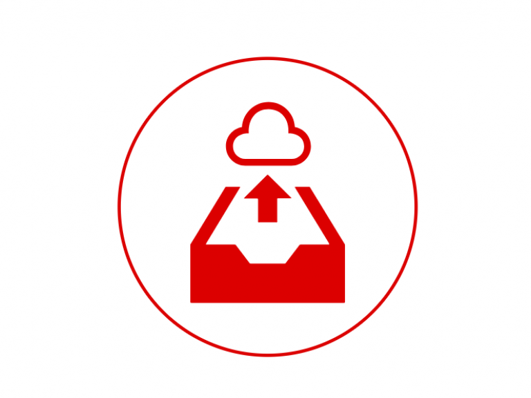Icon for integrated archived solutions, indicating a file going into a cloud